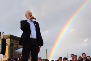 Jeremy Corbyn at rally on 6 June 2017 - with Rainbow
