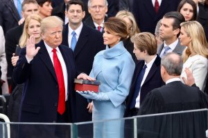 President Donald Trump being sworn in on January 20, 2017 at the U.S. Capitol building in Washington, D.C