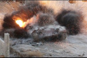 Syrian Army tank hit by explosives in Deraaya