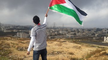 Waving the Palestinian Flag