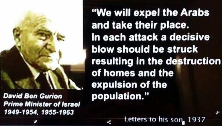 Quote by Ben Gurion telling Zionists to terrorise Palestinians