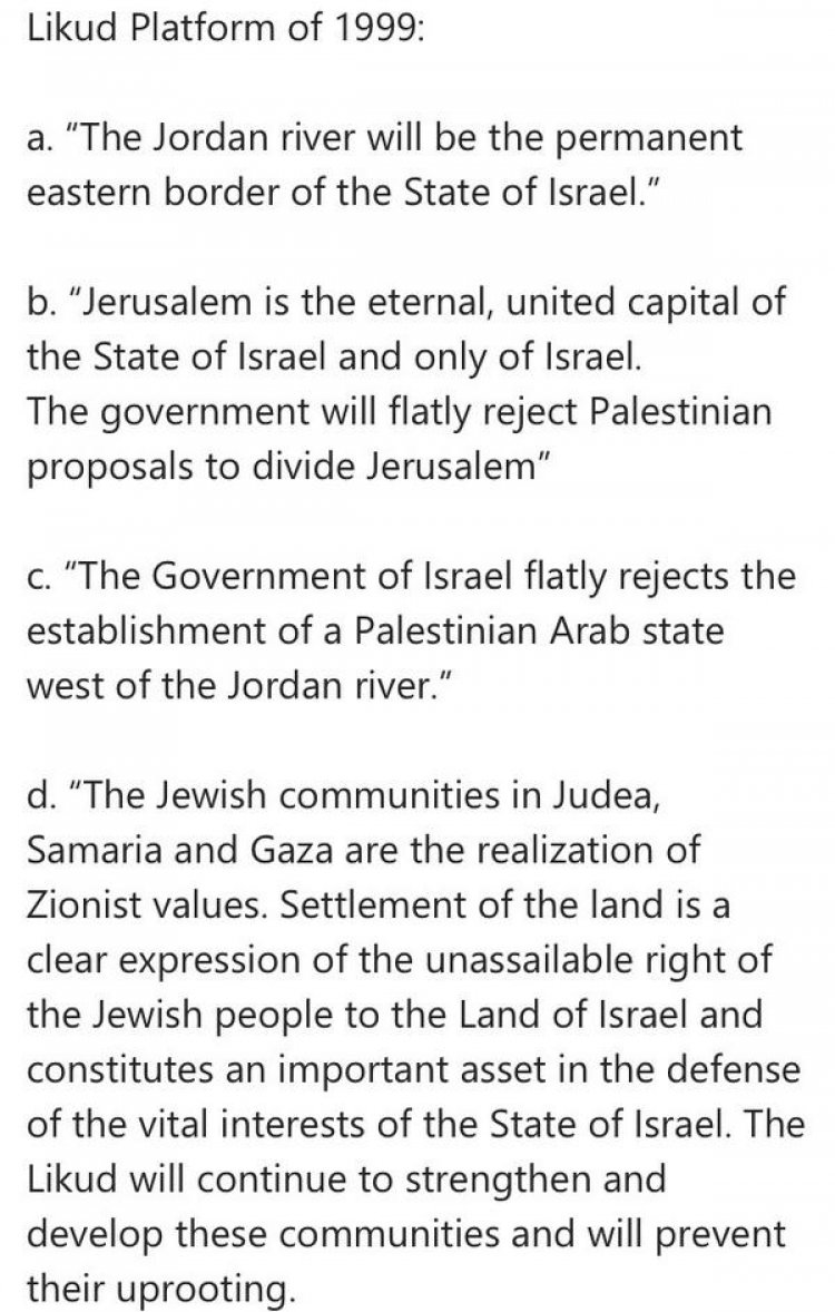 Likud Charter - their platform from 1999