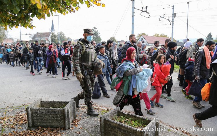 Syrian refugees and migrants pass through Slovenia, 23 October 2015