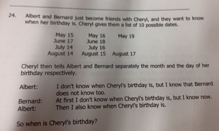 Maths question posed in an exam paper to weed out the top students aged 14/15