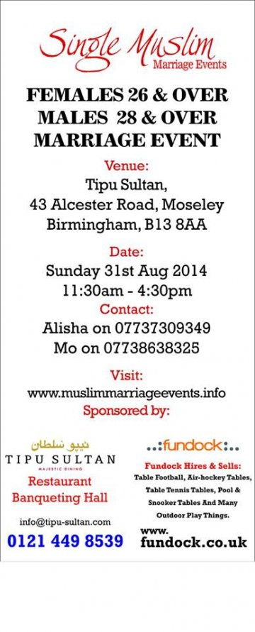 Single Muslim Matrimonial Events