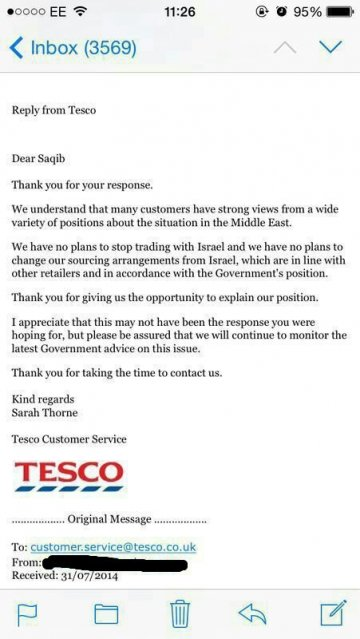 Tesco reply to Email about Boycotting Israeli products
