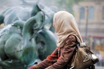 Muslim tourist wearing headscarf